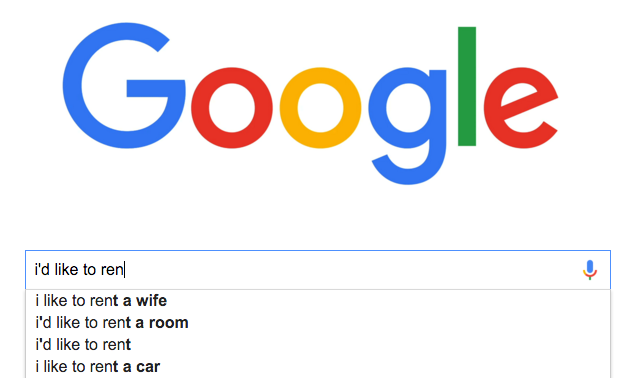 Renting a car... less popular than renting a wife.